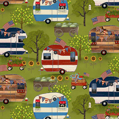 Patriotic Summer - Country Camping - Moss Green