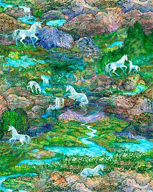 Celestial Journey - Unicorn Paradise - Green - DIGITAL PRINT