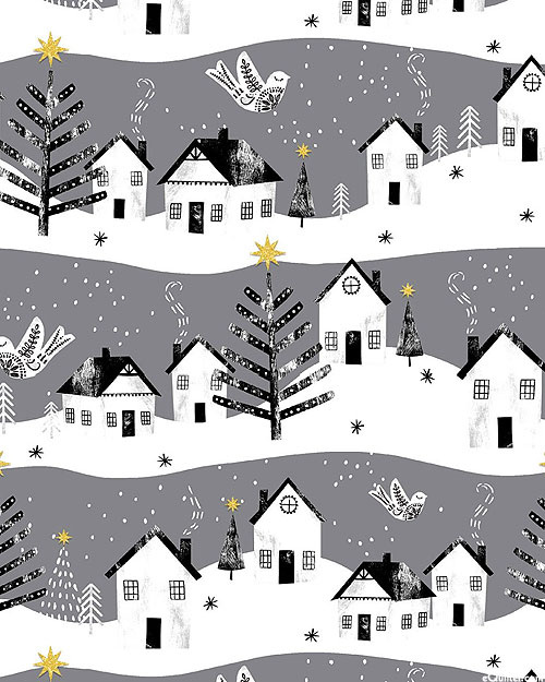 Peace On Earth - Cheery Christmas Town - Pewter Gray/Glitter