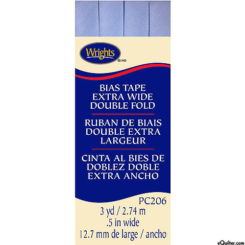 """Bias Tape - Extra Wide Double Fold - Lt Blue - 1/2"""" WIDE"""