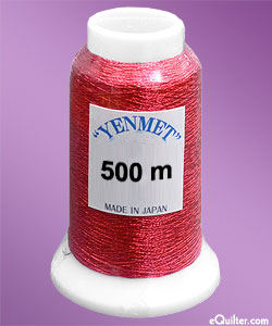 Yenmet Metallic Machine Thread - 546 yd - Cherry Red
