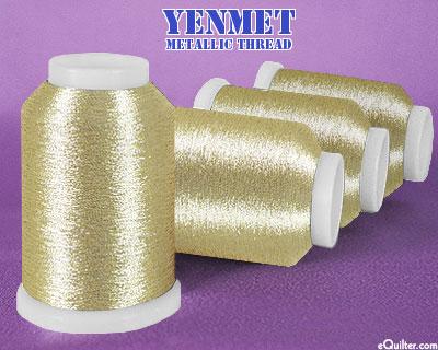 Yenmet Metallic Machine Thread - 1094 yd - Pale Gold