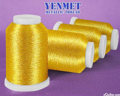 Yenmet Metallic Machine Thread - 1094 yd - Brass Gold