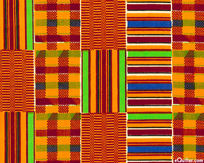 African Import - Faux Kente Cloth - Pumpkin Orange